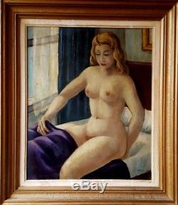 Tableau ancien école moderne superbe portrait de femme nue art-deco