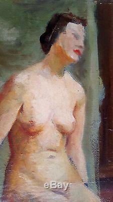 Tableau ancien école moderne superbe portrait de femme nue école de Paris