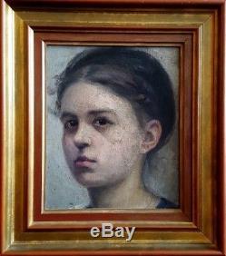 Tableau ancien école moderne superbe portrait de jeune fille
