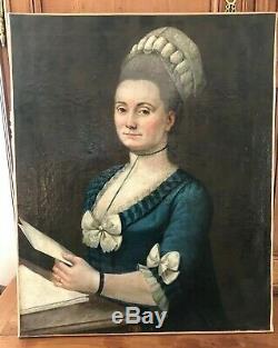Tableau ancien époque XVIIIe vers 1770 dame de qualité huile sur toile bon état