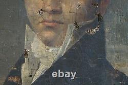 Tableau ancien époque empire portrait capitaine armée Napoléon XIXe à restaurer