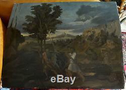Tableau ancien esquisse scène mythologique