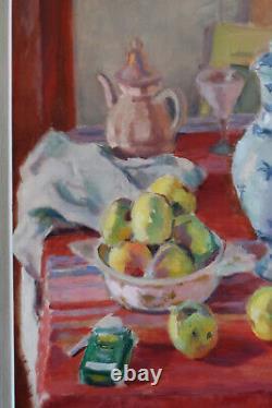 Tableau ancien fauvisme nature morte fruits porcelaine école française
