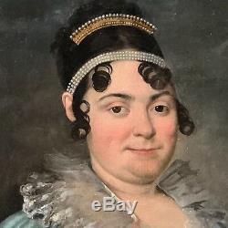 Tableau ancien, femme de qualité au diadème, époque Empire