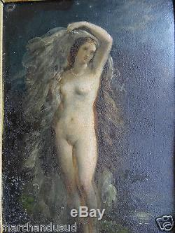 Tableau ancien femme nue trace signature old painting naked woman