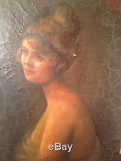 Tableau ancien fin XIXe Art Nouveau Portrait de femme au ruban vert Huile Signée