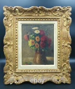 Tableau ancien fleurs bouquet vase nature morte cadre montparnasse