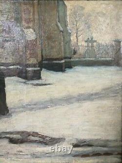 Tableau ancien gauguin van gogh Ecole Française Vers 1890 Après l'église