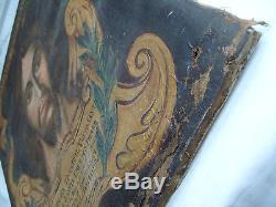 Tableau ancien gd portrait Christ Jésus Vatican Rome daté 1734 ex voto painting