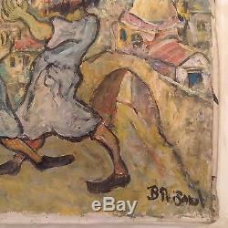 Tableau ancien goût Mane Katz danse Hassidique huile signée Jewish Fine Art Oil