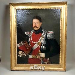 Tableau ancien, grand portrait officier italien ou autrichien daté 1832