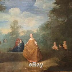 Tableau ancien, grande scène dans le gout de Watteau, époque XVIIIème