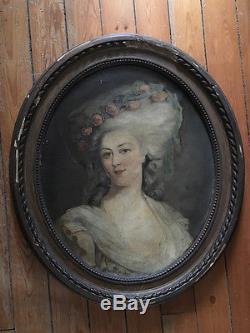 Tableau ancien, hst, a restaurer, ovale portrait ancien dans son cadre doré