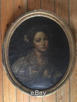 Tableau ancien, hst, ovale, portrait ancien dans son cadre doré
