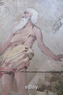 Tableau ancien huile 19ème scêne de sacrifice au couteau d' Abraham