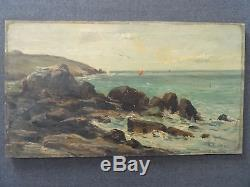 Tableau ancien huile Paysage signé René TENER Barbizon Seascape Oil Painting