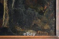 Tableau ancien, huile XIX ème. Sous bois Forêt de Fontainebleau