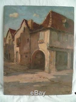 Tableau ancien, huile de Marius Gueit (Bordeaux), village du Sud-Ouest. Cabié