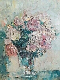 Tableau ancien huile, huile sur panneau, bouquet, cadre Montparnasse, akoun