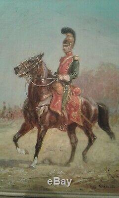 Tableau ancien huile / panneau Hussard à cheval Pechaubes Eugène (1890-1967)