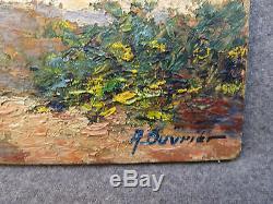 Tableau ancien huile panneau signé A. OUVRIER Corse Monte Doro ecole provençale