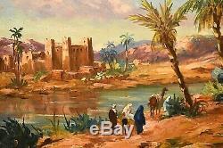 Tableau ancien huile paysage animé Orientaliste Oasis signé Edmond Flégier XXe