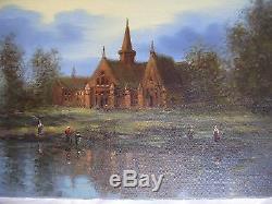 Tableau ancien huile paysage lacustre église femme ZABIN painting country church