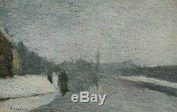 Tableau ancien huile paysage littoral animé signé Crochard Impressionnisme XXe