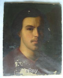 Tableau ancien huile portrait jeune homme en clair obscur 19e man old painting