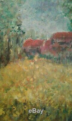 Tableau ancien huile prairie de jonquillesFernand Roux élève et ami de Matisse