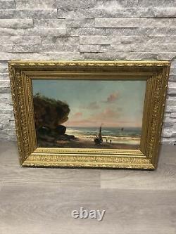 Tableau ancien huile sur bois bateau marine XIX EME