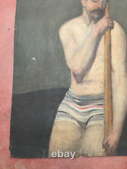 Tableau ancien huile sur carton épais INCONNU (XIXe-s) personnage