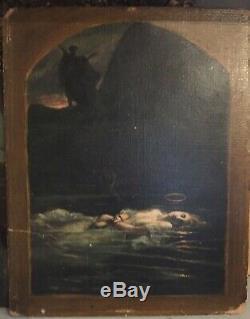 Tableau ancien huile sur carton symboliste femme reposant dans l' eau