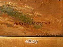 Tableau ancien huile sur panneau Adrien Moreau Pont sur le Loing HSP