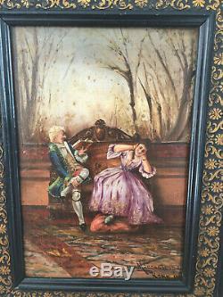 Tableau ancien huile sur panneau MANCASTROPA ROMA 1891 (XIX) scène de lecture