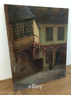 Tableau ancien huile sur panneau à définir (XIXe-s) ancienne auberge sous porche