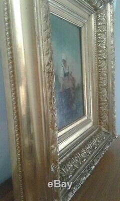 Tableau ancien huile sur panneau jeune femme à la source 19 eme