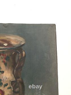 Tableau ancien huile sur papier EVRARD JUL (XIXe-s) nature morte