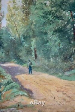 Tableau ancien, huile sur papier. XIX ème, École de Barbizon. Paysage au Chemin