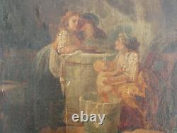 Tableau ancien huile sur papier le bain du nourisson 18ème XVIIIème à restaurer