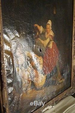 Tableau ancien, huile sur toile, 2 filles et un garçon, marque d'Alph. Giroux