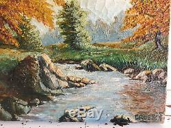 Tableau ancien huile sur toile CROSSET (XXe-s) paysage