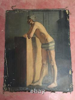 Tableau ancien huile sur toile INCONNU (XIXe-s) portrait