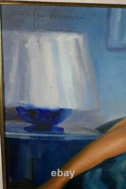 Tableau ancien huile sur toile Nu signé Georges Varenne début XXe Art Déco Bleu