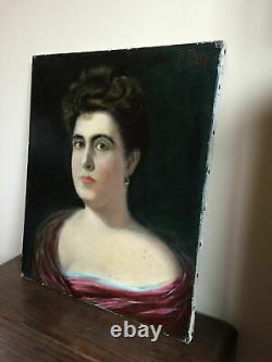 Tableau ancien huile sur toile Pompeo L. PIERI (XIX) portrait