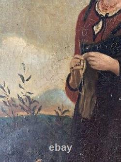 Tableau ancien huile sur toile Portrait De Paysanne 19 Eme Siècle Réalisme