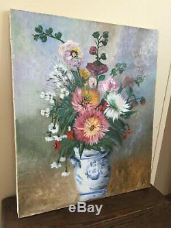 Tableau ancien huile sur toile S. BANNEVILLE (XXe-s) nature morte aux fleurs