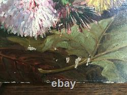 Tableau ancien huile sur toile VIVIEN (XIXe-s) nature morte aux fleurs