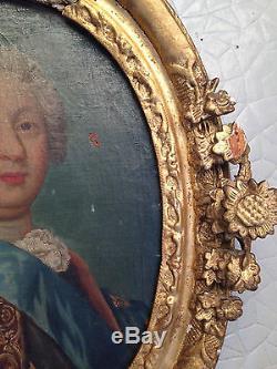 Tableau ancien huile sur toile XVII / XVIII avec superbe cadre sculpté