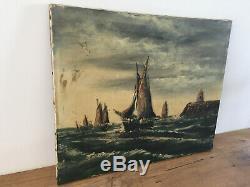 Tableau ancien huile sur toile à définir (XIXe-s) marine